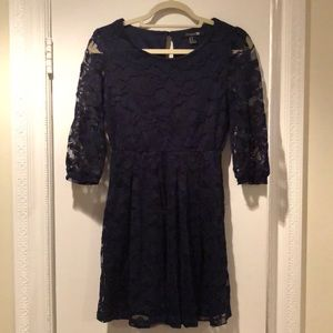 Lace navy blue A-line dress